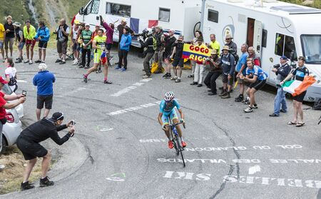 bystanders: Col du Glandon, France - July 24, 2015: The Italian cyclist Vincenzo Nibali of AstanaTeam,climbing the road to Col du Glandon in Alps, during the stage 19 of Le Tour de France 2015.