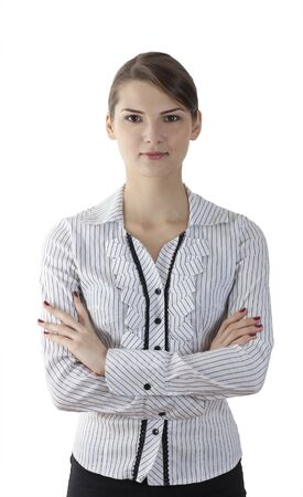 woman white shirt: Portrait of a young woman with arms crossed isolated against a white background.