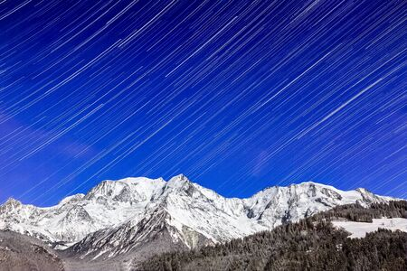 star trail: Star trail over the Mont Blanc Massif, the highest mountain of Europe.