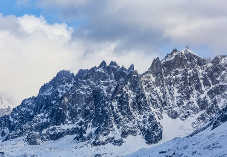 vicinity: Winter image of  lAiguille du Plan located in the vicinity of Mont Blanc Massif.