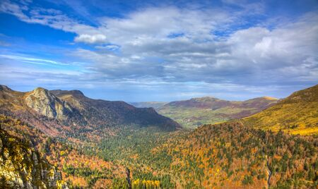 massif: Colorful autumn valley located in The Central Massif in France.