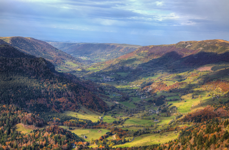 cantal: Beautiful autumn volcanic valley located in the Central Massif in France. Stock Photo