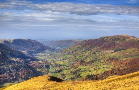 massif: Beautiful autumn volcanic valley located in the Central Massif in France. Stock Photo