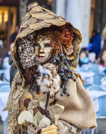disguised: Venice,Italy- March 2, 2014: A person disguised in a forest-like costume posing in San Marco Square during the Venice Carnival days.