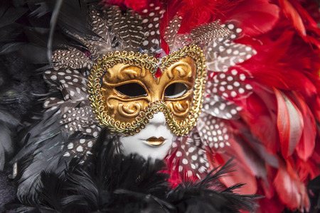 black mask: Close-up image of a colorful Venetian mask. Stock Photo