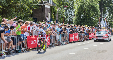 bystanders: Utrecht,Netherlands - 04 July 2015: The Italian cyclist Luca Paolini of Katusha Team riding during the first stage individual time trial  of Le Tour de France 2015 in Utrecht,Netherlands on 04 July 2015.