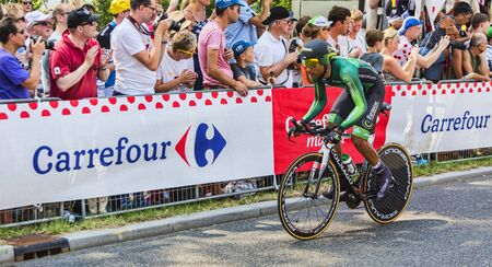 bystanders: Utrecht,Netherlands - 04 July 2015: The French cyclist Yohann Gene of Team Europcar riding during the first stage individual time trial  of Le Tour de France 2015 in Utrecht,Netherlands on 04 July 2015.