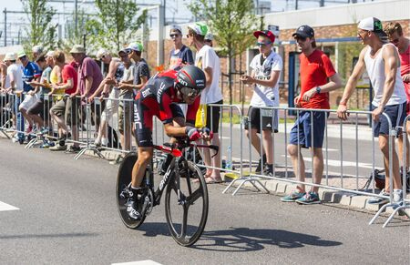 bystanders: Utrecht,Netherlands - 04 July 2015: The Spanish cyclist Samuel Sanchez of BMC Racing Team riding during the first stage individual time trial  of Le Tour de France 2015 in Utrecht,Netherlands on 04 July 2015.