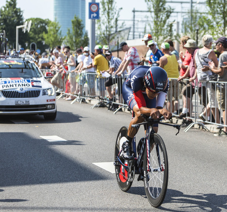 gomez: Utrecht,Netherlands - 04 July 2015: The Colombian cyclist Jarlinson Pantano Gomez of IAM Cycling Team riding during the first stage individual time trial  of Le Tour de France 2015 in Utrecht,Netherlands on 04 July 2015.