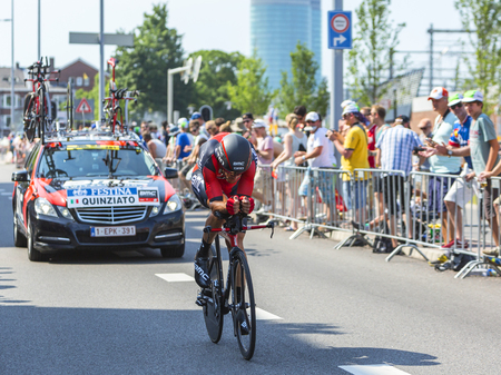 bystanders: Utrecht,Netherlands - 04 July 2015: The Italian cyclist Manuel Quinziato of  BMC Racing Team riding during the first stage individual time trial  of Le Tour de France 2015 in Utrecht,Netherlands on 04 July 2015.