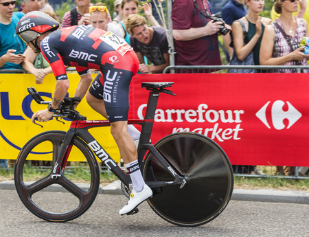 bystanders: Utrecht,Netherlands - 04 July 2015: The Italian cyclist Damiano Caruso of BMC Racing Team riding during the first stage individual time trial  of Le Tour de France 2015 in Utrecht,Netherlands on 04 July 2015. Editorial