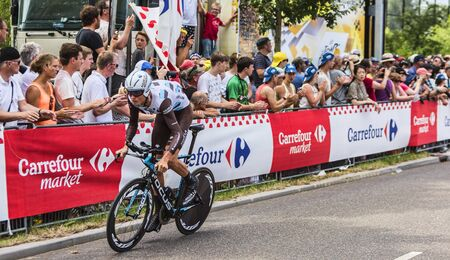 bystanders: Utrecht,Netherlands - 04 July 2015: The Belgian cyclist Johan Vansummeren of  AG2R La Mondiale Team riding during the first stage individual time trial  of Le Tour de France 2015 in Utrecht,Netherlands on 04 July 2015.