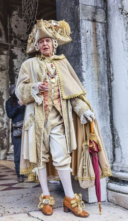nobleman: Venice,Italy- March 2, 2014: Portrait of a medieval nobleman posing in San Marco Square during the Venice Carnival days.