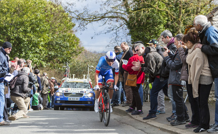 arthur: Conflans-Sainte-Honorine,France-March 6,2016: The French cyclist Arthur Vichot of FDJ Team riding during the prologue stage of Paris-Nice 2016.