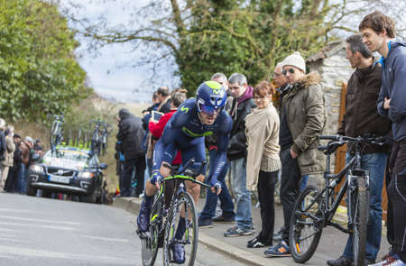 ion: Conflans-Sainte-Honorine,France-March 6,2016: The Spanish cyclist Ion Izagirre of Movistar Team riding during the prologue stage of Paris-Nice 2016.