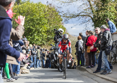 gilbert: Conflans-Sainte-Honorine,France-March 6,2016: The Belgian cyclist Philippe Gilbert of BMC Racing Team riding during the prologue stage of Paris-Nice 2016.