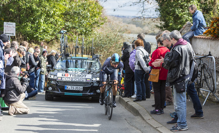 sergio: Conflans-Sainte-Honorine,France-March 6,2016: The Colombian cyclist Sergio Luis Henao Montoya of Team Sky riding during the prologue stage of Paris-Nice 2016.