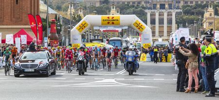 peloton: Barcelona, Spain - March27, 2016: The peloton at the start of the last stage of Volta Ciclista a Catalunya 2016 in Montjuic, Bracelona Spain, on March 27, 2016.