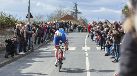 Conflans-Sainte-Honorine,France-March 6,2016: The French cyclist Arnaud Demare of FDJ Team riding during the prologue stage of Paris-Nice 2016. Editorial