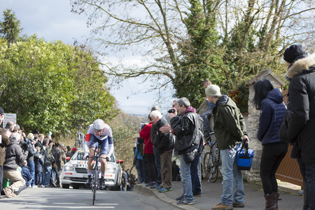 stake: Conflans-Sainte-Honorine,France-March 6,2016: The Norwegian cyclist Vegard Stake Laengen of IAM Cycling Team riding during the prologue stage of Paris-Nice 2016. Editorial