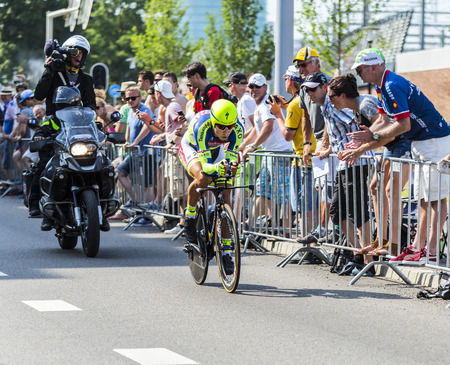 bystanders: Utrecht,Netherlands - 04 July 2015: The Slovak cyclist Peter Sagan of Tinkoff-Saxo Team riding during the first stage (individual time trial ) of Le Tour de France 2015 in Utrecht,Netherlands on 04 July 2015.
