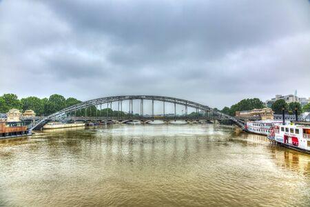 austerlitz: Paris,France - June 5, 2016: Paris cityscape with the River Seine and Austerlitz Bridge during the massive flooding in Paris in the first days of June 2016. Editorial