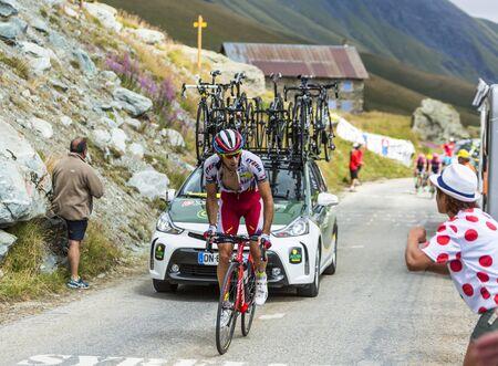 Col de la Croix de Fer, France - 23 July 2015:The Spanish cyclist Alberto Losada Alguacil of Katusha Team  climbing to the Col de la Croix de Fer in Alps during the stage 20 of Le Tour de France 2015.