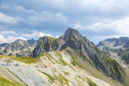 Beautiful altitude landscape with the Neouvielle Massif and Col du Tourmalet in Central French Pyrenees Mountains.
