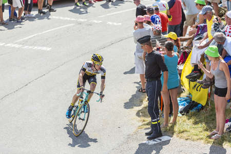 steven: Col du Glandon, France - July 23, 2015: The Dutch cyclist Steven Kruijswijk of Lotto NL-Jumbo Team riding in a beautiful curve at Col du Glandon in Alps during the stage 18 of Le Tour de France 2015. Editorial