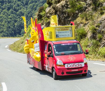 lending: Col DAspin,France- July 15,2015: Cofidis Vehicle during the passing of the Publicity Caravan on the Col dAspin in Pyerenees Mountains in the stage 11 of Le Tour de France 2015. Cofidis is an important French money lending company. Editorial