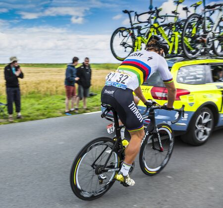 2 0: Ardevon, France - July 2, 2016: The Slovak cyclist Peter Sagan of Tinkoff Team taking the start of Tour de France at Km 0, close to Mont Saint Michel Monastery, in Ardevon,France on July 2,2016.