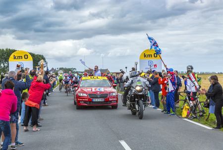2 0: Ardevon, France - July 2, 2016: Christian Prudhomme, the general director, launching the Tour de France at Km 0 in Ardevon,France on July 2,2016.