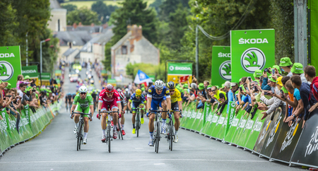 Bouille-Menard,France - July 4, 2016: Marcel Kittel, Peter Sagan, Alexander Kristoff and Mark Cavendish in full effort arrive at the intermediate sprint finish during the stage 3 of Tour de France in Bouille-Menard on July 4, 2016.
