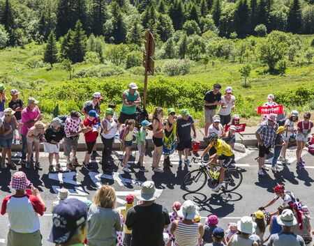 pas: Pas de Peyrol, France - July 6,2016: The Slovak cyclist Peter Sagan of Tinkoff Team in Yellow Jersey riding on the road to Pas de Pyerol (Puy Mary) in Cantal,in the Central Massif, during the stage 5 of Tour de France on July 6, 2016.