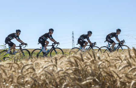 Saint-Quentin-Fallavier,France - July 16, 2016: Four cyclists of Team Sky, riding in a wheat plain during the stage 14 of Tour de France 2016.
