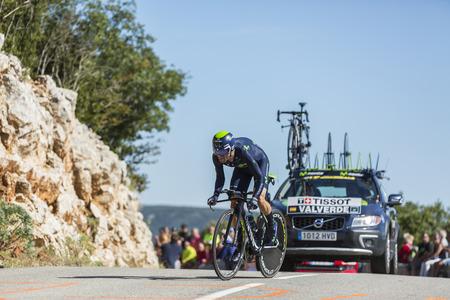 belmonte: Col du Serre de Tourre,France - July 15,2016: The Spanish cyclist Alejandro Valverde of Movistar Team, riding during an individual time trial stage in Ardeche Gorges on Col du Serre de Tourre during Tour de France 2016.