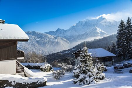 Winter landscape in a mountainous resort at the base of Mont Blanc Massif in the French Alps.