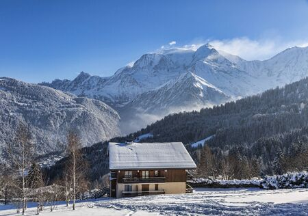 Image of a chalet located at the base of Mont Blanc Massif.