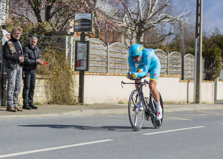 kazakh: Conflans-Sainte-Honorine,France-March 6,2016: The Kazakh cyclist Dmitriy Gruzdev of Astana Team riding during the prologue stage of Paris-Nice 2016.