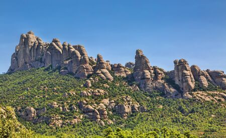 Specific rocks formation in Montserrat Mountain in Catalonia, Spain.