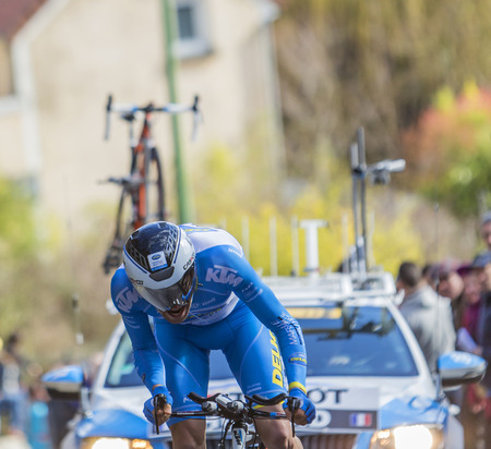 Conflans-Sainte-Honorine,France-March 6,2016: The French cyclist Thierry Hupond of Delko-Marseille Provence-KTM Team riding during the prologue stage of Paris-Nice 2016.