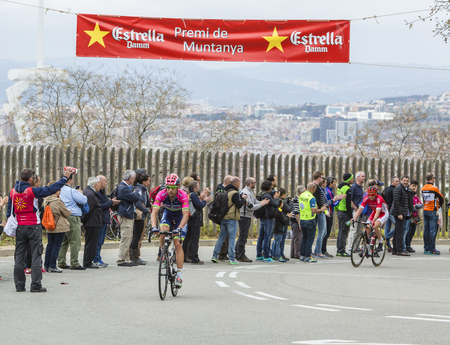 Barcelona, Spain - March27, 2016: The Italian cyclist Davide Cimolai  of Lampre - MeridaTeam riding on the top of Montjuic in Bracelona Spain,during Volta Ciclista a Catalunya, on March 27, 2016.