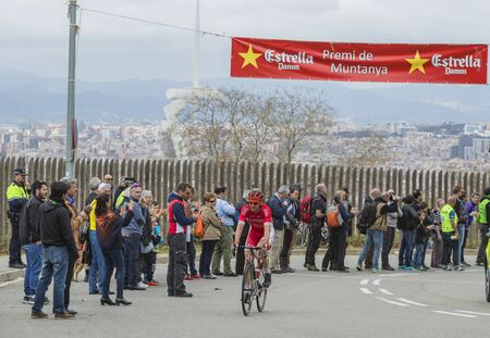 Barcelona, Spain - March27, 2016: The Slovenian cyclist Borut Bozic of Cofidis Team riding on the top of Montjuic in Bracelona Spain,during Volta Ciclista a Catalunya, on March 27, 2016.