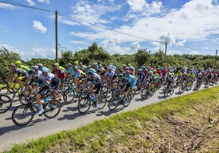 Quineville,France- July 2, 2016: Chriss Fromme of Team Sky, in the peloton, riding during the first stage of Tour de France in Quineville, France on July 2, 2016.