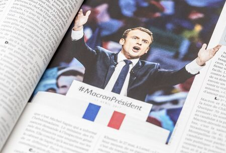 France - April 29,2017: The French magazine LExpress publish an inside story and pictures of the  presidential candidate Emmanuel Macron which passed in the second round of the French elections 2017.