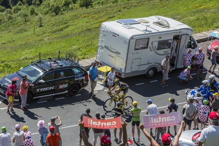 pas: Pas de Peyrol, France - July 6,2016: The French Cyclist Romain Sicard of Direct Energie Team riding on the road to Pas de Pyerol (Puy Mary) in Cantal, in the Central Massif 6, 2016. Editorial