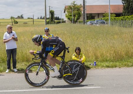 contender: Bourgoin-Jallieu, France - 07, May, 2017: The French cyclist Angelo Tulik of  Direct Energie Team riding during the time trial stage 4 of Criterium du Dauphine 2017. Valverde is a strong contender for the final podium of the race.