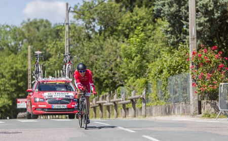 contender: Bourgoin-Jallieu, France - 07, June, 2017: The French cyclist Julien Simon of Cofidis Team riding during the time trial stage 4 of Criterium du Dauphine 2017. Valverde is a strong contender for the final podium of the race.