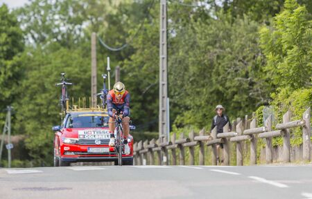race for time: Bourgoin-Jallieu, France - 07, June,  2017: The Italian cyclist Sonny Colbrelli of Bahrain–Merida Team riding during the time trial stage 4 of Criterium du Dauphine 2017. Valverde is a strong contender for the final podium of the race.