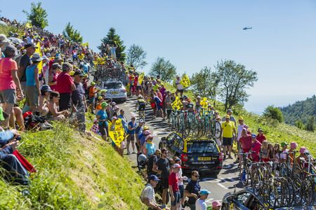 Col du Grand Colombier, France - July 17, 2016: The New Zealand cyclist George Bennett of LottoNLâ € â € œJumbo Team riding on the road to Col du Grand Colombier in Jura Mountains during the stage 15 of the 2016 Tour de France. Editorial